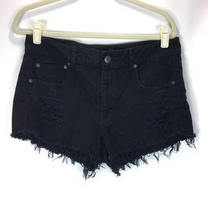 American Eagle Denim Shorts Distressed Black 12
